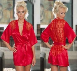 Wholesale Satin G String Plus Size - Sexy silk nightdress Lingerie for women designer Satin Lace Kimono Intimate Sleepwear Robes and G-String pajamas plus size M-XXL wholesales
