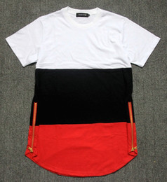 Wholesale Drop Neck T Shirts - Nice Qaulity Histreet Celebrity Man t shirts golden zip Hiphop KTZ jay-z Breathable Cotton Patchwork Long extended drop T shirt Men