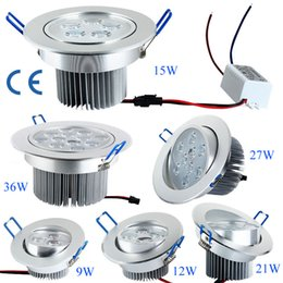 Wholesale Super Bright Ceiling Light - Super Bright 9W 12W 15W 21W 27W 36W CREE Led Ceiling Lights Resessed Lamp AC 85-265V Dimmable Led Down Lights Warm Pure Cold White+Drivers
