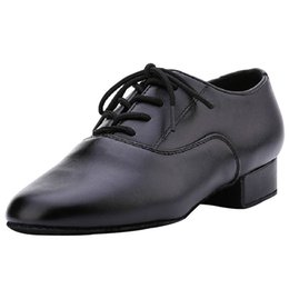 Wholesale Black Ballroom - Wholesale-2015 Black Leather Costume Modern  Tango  Ballroom Latin Dance Shoes For Men Low Heel