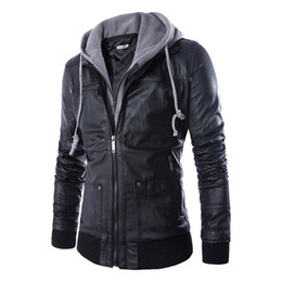 Wholesale Fake Leather Coats - Wholesale- Hot Sale Europe Style Spring Autumn Slim Fit Hooded fake two piece Men's Motorcycle Leather Coat Men Clothing