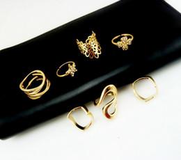 Wholesale Mid Finger Rings - Jewelry Mid Finger Knuckle Ring Set 7pcs set Women's Rhinestone Bowknot Knuckle Midi Mid Finger Tip Stacking Rings With Side Stones Rings