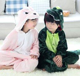 Wholesale Kids Dinosaur Costumes - Hot Autumn Winter Kids Long Sleeve Flannel Fleece Dinosaur Pajamas Cartoon Tracksuit Girls Boys Cosplay Costume Kigurumi Children Loungewear