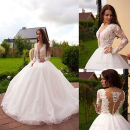 Wholesale Dresse Wedding Ball - New Arabic Cstle 2017 Ball Gown Wedding Dresse Sweetheart Long Sleeves Lace Appliques Court Train Custom Made Bridal Gowns