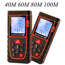 Wholesale distance measure range finder - Freeshipping Digital Laser Distance Meter 40M 60M 80M 100M Laser Rangefinder Laser Tape Range Finder Trena Ruler Build Measure Roulette Tool