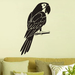 Wholesale Glass Wall Stand - Parrot Stand On Tree Branch Wall Stickers Home Decor Living Room Animals Wall Decals Vinyl Birds Wall Murals
