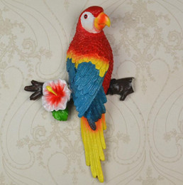 Wholesale Handicraft Wall - European rural stereo parrots hanging wall act the role of resin handicraft creative TV setting metope adornment household DB02