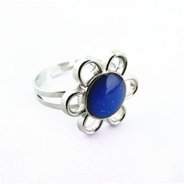 Wholesale Mood Changing Color - Mood Ring Free Shipping Wholesale 10 Pieces Lot Mood ring color change The Magic of Sunflower Band Ring