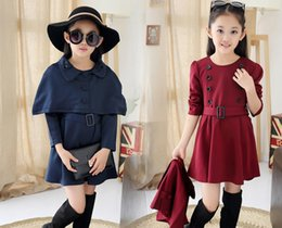 Wholesale Two Piece Coat Dress Girls - Wholesale 2016 new Fashion two-piece: cloak + dress for big girls free shipping