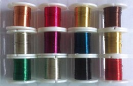 Wholesale Round Wire Beads - 26gauge 0.4mm 9FT roll 12rolls lot colors plated round copper wire artistic wire DIY bead wire buy the dozen