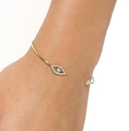 Wholesale Evil Eye Gold Plated - Simple Diamond Fatima Evil Eye Bracelet bangle fashion women gold silver rose gold bracelets open cuff charm jewelry DIA.5.5cm drop shipping