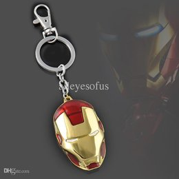 Wholesale Ironman Key Chains - Wholesale-Hot Moives The Avengers Super Hero Ironman Pendant Keychain Marvel Metal Key Chain Ring Free Shipping