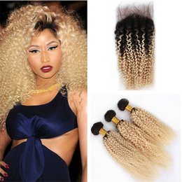 Wholesale Kinky Curly Ombre Hair Dye - Dark Roots 1B 613 Ombre Curly Hair Weaves with Lace Closure 2 Tone Blonde Kinky Curly Ombre Brazilian Human Hair Bundles with Closure