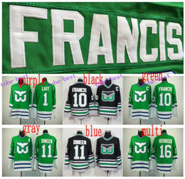 Wholesale Ron Francis Jersey - Cheap Hartford Whalers #10 Ron Francis #1 Mike Liut #11 Kevin Dineen Black Green Throwback CCM Stitched #16 Pat Verbeek Jersey