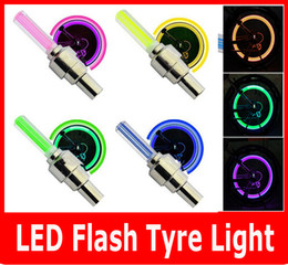 Wholesale Led Lights For Tyres - 2PCS SET LED Flash Tyre light Flashing different color LED Wheel Light For Auto Car Motorcycle Bike Bicycle Cycling Tyre