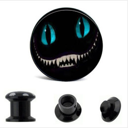 Wholesale Screw Tunnels - acrylic Cheshire Cat Logo Ear Gauge Plug And Tunnel Ear Stretcher Expander 4mm-16mm Screw Fit Plug Piercing