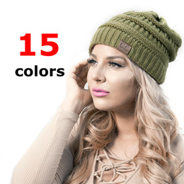 Wholesale Army Hats - CC Caps CC hats Knitted Beanie Fashion Girls women Winter Warm Hat High Bun Beanie Hat Casual Beanies HHA1