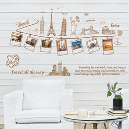 Wholesale Cheap Wall Art Decor - 23.6*35.4inch Removable Creative Sightseeing Architecture Wall Sticker Home Decor Fashion Stickers Living Room Bedroom Wall Art Cheap