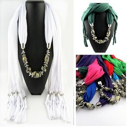 Wholesale Cheap Yellow Scarves - FreeDHL Women Scarf Jewelry Alloy Pendant Scarf Silver Tassel Chain Green Silk Scarves Cheap Mix color E87L