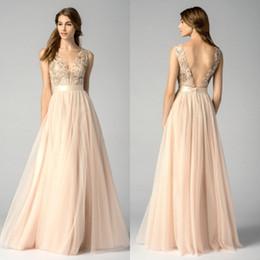 Wholesale Watters Wedding Dress - 2017 maid Dresses Blush Pink V Neck Sleeveless Floor Length Appliqued Tulle Wedding Party Dresses
