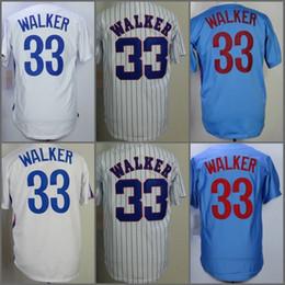 Wholesale Larry Walker - 33 Larry Walker Jersey Retro Jerseys Blue White Pinstripe Vintage 1982