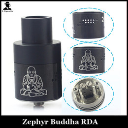 Wholesale Zephyr Caps Wholesale - Vaporizer Zephyr Buddha RDA Atomizers Rebuildable Atomizer with Wide Bore Drip Tips Chuff Cap 26650 Tank Fit Box Mods