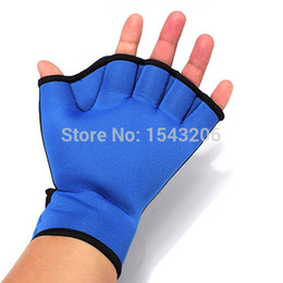 Wholesale Webbed Swimming Gloves - 1 Pair Swim Fins Hand Surfing Frogs Webbed Flippers Gloves AID Paddles Training For Swimming L 24*21cm small order no tracking
