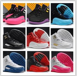 Wholesale Chinese Nudes - Kid Air Retro 12 Red Flu Game Chinese New Year Taxi Gamma Blue Basketball Shoes Sneakers for Children Outdoor Sports Shoes Size 11C-3Y