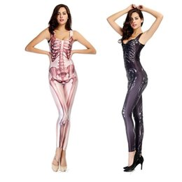 Wholesale Skeleton Woman - Trend Printed Bodysuit Women Sexy Zentai Costumes Dance Shows Digital Human Skeleton Cosplay Lady Skinny Elastic Clothing Cub