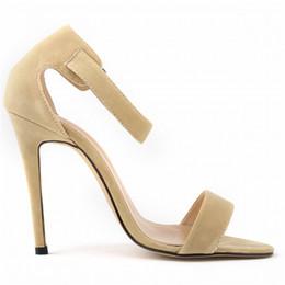 Wholesale Nude Wedges Sandals - Wholesale-Shoes Woman 11cm Open Toe Ankle Straps Sandals Sexy High Heels Wedges Women Pumps Wedding Shoes Faux Velvet Free Shipping