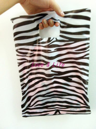 Wholesale Wholesale Zebra Shopping Bags - Wholesale-Wholesale 25*35cm Plastic Shopping Bags, Clothes Packing Plastic Bags with Zebra Print Shopping Gift Bags 100pcs Free Shipping