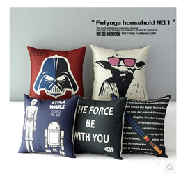 Wholesale Christmas Star Design - 220 Designs Star Wars Pillow Covers Cartoon Cushion Covers Linen Christmas Pillow Case Cushion Cover European Throw Pillow Cases 748