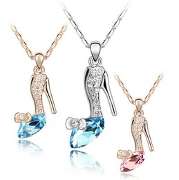 Wholesale Glass Slipper Jewelry - 2015 Fashion Trendy Cinderella Shoes Pendant Necklaces Movie Hip Hop Jewelry Glass Alloy Slipper Pendant Necklace Jewellery for Women