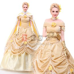 Wholesale Belle Adult Costume - belle costume adult princess belle beauty and the beast costume cosplay halloween costumes for women dress custom