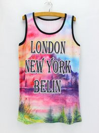 Wholesale Sumer Clothes - 2016 novelty letters printed womens tanks 2016 new summer dresses girls breathable fabric casual tops Mix order sumer clothing wholesale