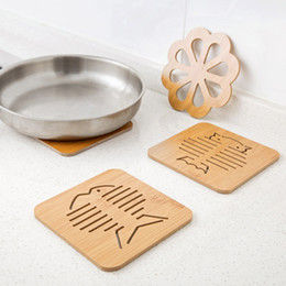 Wholesale Wood Hot Pads - Anti-Slip Wood Cat Fish Shaped Insulation Mat Pad Hot Insulation Placemats Tools