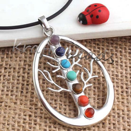 Wholesale Multi Stone Pendants - Wholesale 10pcs Silver Plated Multi Style 7 Stone Beads Chakra Healing Point Pendant Charm Jewelry Fit Necklace
