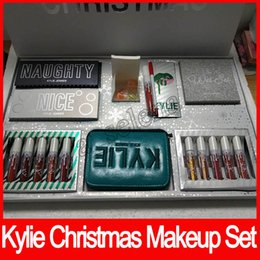 Wholesale Makeup Gift Sets Wholesale - Hot Kylie 2017 Holiday Edition Bundle I WANT IT ALL Makeup set NICE and NAUGHTY Don't Open Until Christmas Christmas gift