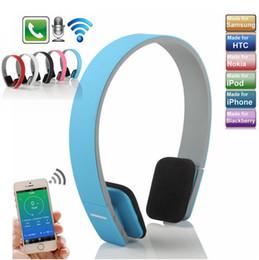Wholesale laptop wireless earphones - AEC BQ618 Wireless Bluetooth Headband Headphones Stereo Bass Handsfree Headset Earphone With Microphone for Samsung iPhone Laptop Smartphone