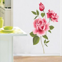Wholesale Pink Rose Decals - Pink Rose Flower Decal Vinyl Wall Removable PVC Sticker Decoration Living DIY Home Art Wallpaper Room House Sticker Poster