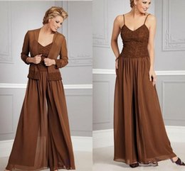 Wholesale Coffee Brown Dress - 2015 Fashion Coffee Chiffon Mothers Dresses Pants Suits With Jacket Long Sleeves Mother of the Bride Spagetti Mother of the Bride Dress