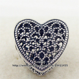 Wholesale Romance Flowers - New 2016 Valentine Day 925 Sterling Silver Openwork Romance Heart Charm Bead Fits European Pandora Jewelry Bracelets & Necklace