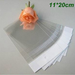 Wholesale plastic bags crafts - 11*20cm Self Adhesive Clear Plastic Bag OPP Poly Bag Pouch Gift Packaging Bags for Crafts Jewelry Ornaments Rings Earrings With Hang Hole