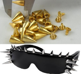 Wholesale Gold Metal Spikes - 4 colors MIC New 7x14MM Gold Silver Metal Bullet Stud Rivet Spikes Leather craft Accessories Metals Jewelry