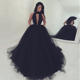 Wholesale Puffy Dresses For Women - 2018 Long Black Prom Dresses Puffy Ball Gown Women Masquerade Dress For Evening Party Gown Sexy Halter Backless Sweep Train Vestido De Baile