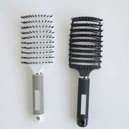 Wholesale hair plastic salon - New Bristle Hair Brushes comb for hair extensions Anti-static Heat Curved Vent Barber Salon Hair Styling Tool Rows Tine Comb Plastic