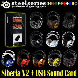 Wholesale Steelseries Siberia White - 6 Color Combo Steelseries Siberia V2 Gaming Headphone + Exteinson cable + Siberia USB 7.1 soundcard In BOX+ Bag, free shipping order<$10 no