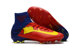 Wholesale Indoor Soccer Teams - 2018 Top Quality Team Logo Football Shoes Mercurial Superfly V FG CR7 Soccer Shoes Mens Women Kids Soccer Boots Outdoor Soccer Cleats