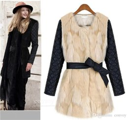 Wholesale Womens Pink Coat Fur - New Style Fashion Womens Slim Winter Faux Fur Coat Solid Fur Collar with Leather Long Sleeves Women Charming Outerwear 3 Colors WT104