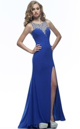 Wholesale Sparkle Beaded Dress - Sparkling Split Evening Dresses Ocean Blue Beading High Crystal Evening Dress Thigh Split Beaded Collar Party Split Sexy Long Prom Dress
